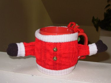 MUGS WITH WARMERS HAPPY HOLIDAYS CHRISTMAS MUGS SANTAS SUIT NEW GANZ