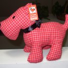 SCOTTIE PLUSH STUFFED DOG ANIMAL RED WHITE PLAID NEW GANZ TOY