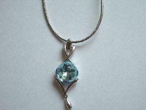 Original Design by William Wang Swarovski Crystal Aquamarine Necklace With Platinum Finish