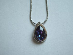 Original Design by William Wang Teardrop Swarovski Heliotrope Crystal With Platinum Finish