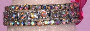 3 Bracelet Clear Aurora Borealis Crystal Square and Round Bracelet
