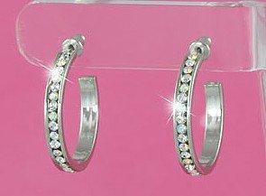 Swarovski Crystal Aurora Borealis Hoop Earrings