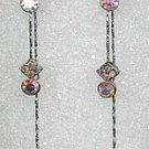 Long Dangling Clear Aurora Borealis Earrings