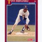 1991 Score Rookie/Traded Baseball #066T Tony Fernandez - San Diego Padres