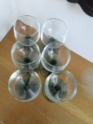 (6) 60s Vtg German Rhine wine glasses, green base/clear top, perfect condit!!