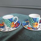 2 charming demitasse cups by Crown Porcelain, colorful panoramic pattern, A++!