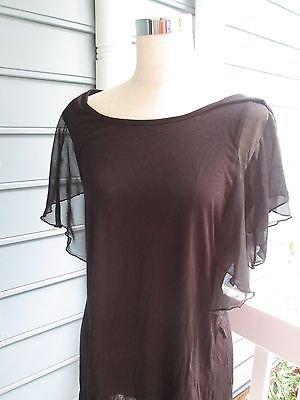 Black soft blouse w/ruffled cap sleeves, Sz 1X, by DISCREET, NWT, dressy & easy
