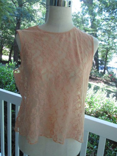 Sexy DKNY lacy peach camisole, Sz L,100% polyester, A++ cond, summer cooler!!