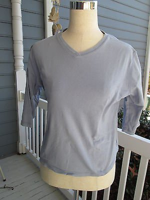 WOOLRICH cotton shirt gray!  Sz S, 3/4 sleeves, V-neck, sturdy & in good shape!