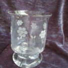 "Jaunty & unusual footed,round CRYSTAL VASE/DISH w/etched flower border,5.75""high"