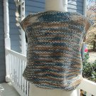 Vintage handknitted woman's sleeveless vest, beige & blue, Sz. S, very pretty!