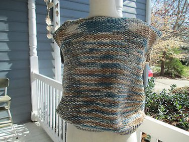 Vintage handknitted woman's sleeveless vest, beige & blue, Sz. S, very pretty!