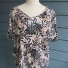 KAREN SCOTT Woman TOP/BLOUSE, Sz 1X, 100% cotton, beige/navy print, A++ condit!
