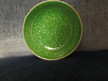 "Tiny green enameled Chinese trinket dish/bowl,4"" across, sm.chip on edge, pretty"