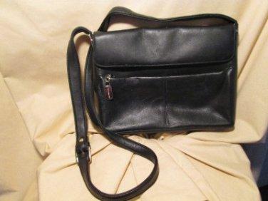 "Liz Claiborne black leather 20"" medium purse/handbag ,many compartments! 7.5""x9"""