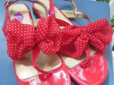 RAMPAGE sandals, gorgeous red w/polka dot bow, Sz 8.5, NWT,cute,sexy & yours!!