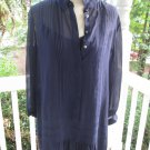 MADEWELL PARTY DRESS, Sz L, navy sheer w/slip, tucks & ruffle, really cute!! 4U!