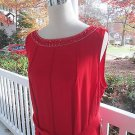 FOREVER Woman RED Sparkly Party Dress, Sz 2X,NWT,pleated,jewel neck,sleeveless!!