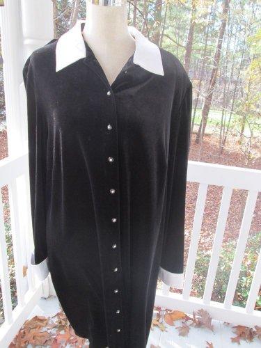 RONNI NICOLE II BLACK VELVET DRESS w/white satin collar, NWT, Sz 22, PARTY!!!