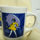 "70s Retro (4) Morton Salt mugs, perfect, advertising ""when it rains.."" Gift item"