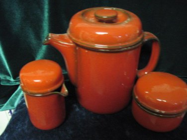 60s designer VINTAGE German pottery 3 pc.coffee set,  gorgeous red color,