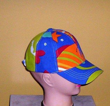Boys Blue Ball Cap Beach Stars Multi-Color Hat One Size New!