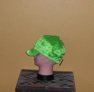 Ladies Sequin Newsboy Hat LIME GREEN Womens Shiny Sequinn Cap New w/Tag!