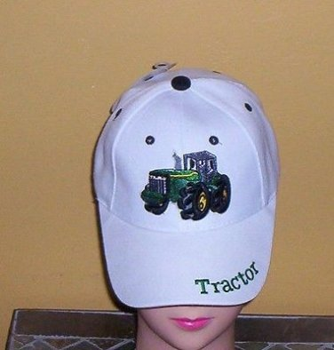 Boys White Embroidered TRACTOR Hat Ball Cap Child Tractor Hat New w/Tags!
