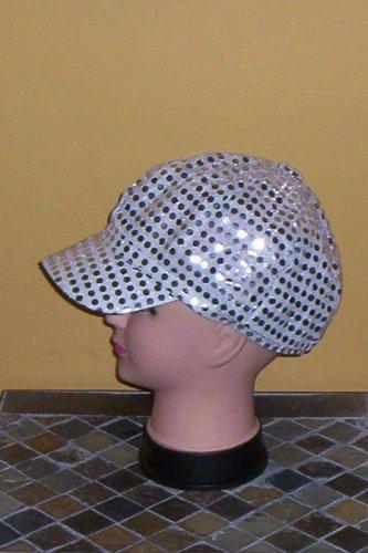 Silver Sequin Diva Fashion Newsboy Hat Cap New!