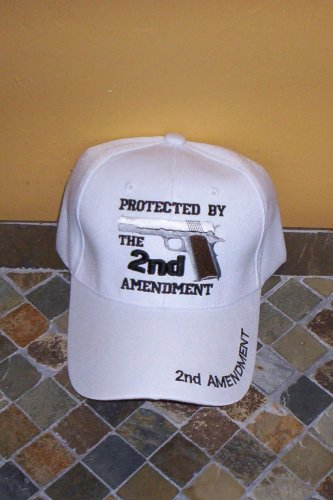 Protected By The 2ND Amendment Mens White Hat Embroidered Ball Cap New w/Tags