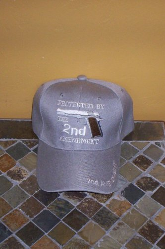 Protected By The 2ND Amendment Mens Gray Hat Embroidered Ball Cap New w/Tags