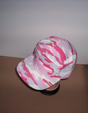 Womens Pink Camo Denim Camouflage Flat Bill Ball Cap Hat New!