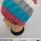 Fleece Lined Ladies Knit Winter Hat w/Pom Pom Striped New!