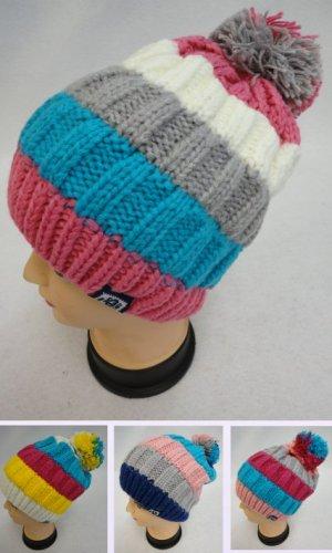 Fleece Lined Ladies Knit Winter Hat w/Pom Pom Striped New!