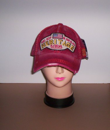 Distressed Red American Heritage Runs Deep in Our Blood Ball Cap New!