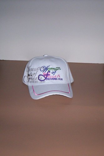 Woman of Faith White Hat Ball Cap Jesus Religious New!
