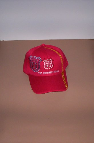 Red Route 66 The Mother Road Mens Hat Ball Cap New!