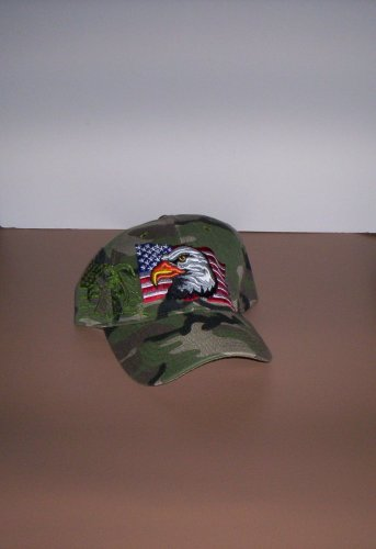 Camo Eagle American Flag Mens Hat Camouflage Ball Cap New!
