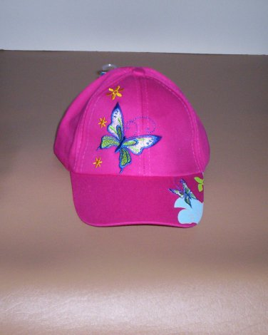 Girls Hot Pink Embroidered Butterfly Hat Ball Cap New!