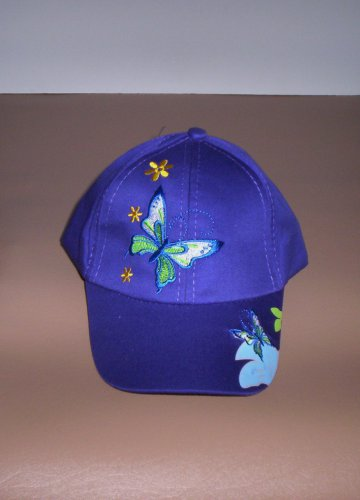 Girls Purple Embroidered Butterfly Hat Ball Cap New!