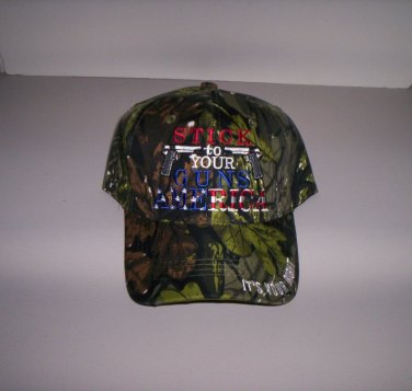 """Stick To Your Guns America"" It's Your Right Mens Camo Hat Ball Cap New!"