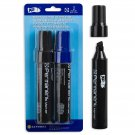 """Kaywin, Set of 2 """"Giant"""" Fat-nose Permanent Markers, Blue and Black"""