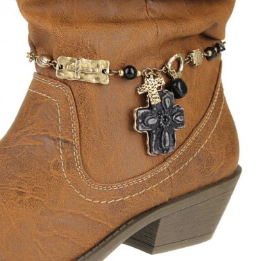 Boot Chain Charms Textured Cross Bead Gold Black New!