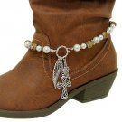 Boot Chain Charms Beads Pearls Cross Angel Wings Silver New!