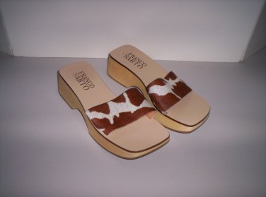 Wood & Cow Hide Sandals Women�s Size 6M Like New!