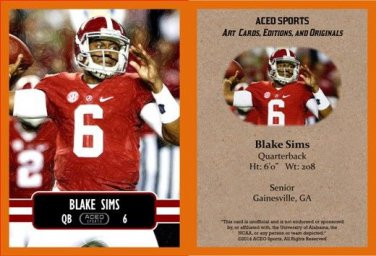 Blake Sims 2014 ACEO Sports Football Card - Alabama