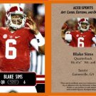 Blake Sims 2014 ACEO Sports Football Pre RC Card - Alabama