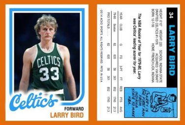 "Larry Bird ""What If"" 1980-81 Topps Style Reprint RP ACEO Card Rookie RC 34"