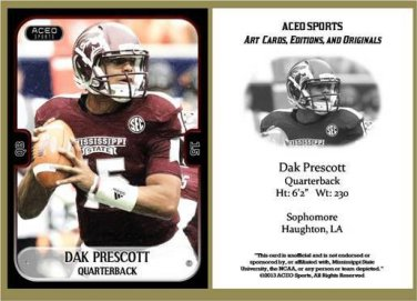 Dak Prescott 2013 ACEO Sports Football Pre RC Card Mississippi State