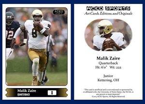 Malik Zaire NEW! 2015 ACEO Sports Football Card - Notre Dame Fighting Irish QB